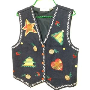 Holiday Vest with pineapples wool blend siz Medium